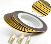 Лента для дизайна ногтей Нить-фольга Золото