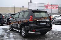 Защита заднего бампера уголки двойные d76/42 Союз 96 на Toyota Land Cruiser Prado 150 2018 (эксклюзив TMR )