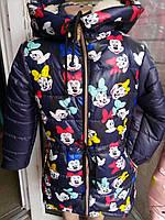 """Детская зимняя куртка принт """"Микки Маус"""" на девочку 6-10 лет, темно синий"""