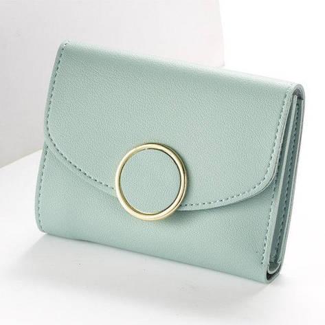 Женский кошелек BAELLERRY Woman Mini кожаное портмоне на кнопке Голубой (SUN0550) , фото 2