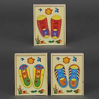 Шнуровка кед деревянная обучающая игра, 3 вида, 2 башмачка, в коробке