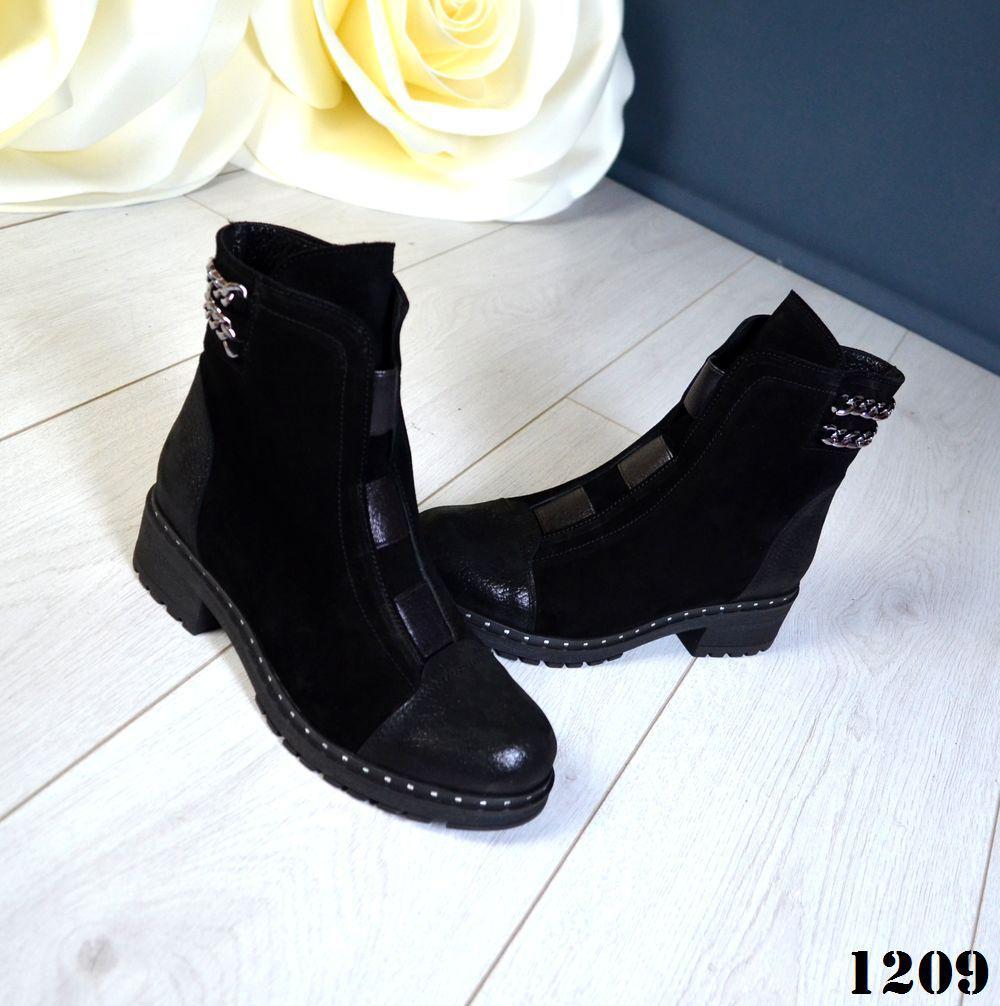 Классические женские ботинки замша и кожа на низком ходу