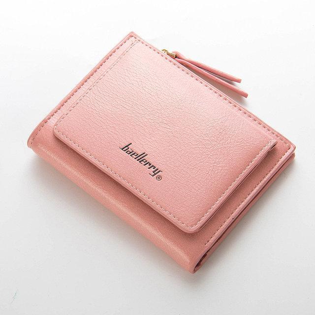 Женский кошелек BAELLERRY Casual Mini кожаное портмоне на кнопке Пудровый (SUN0558)