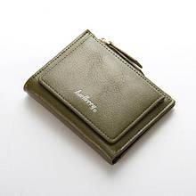 Женский кошелек BAELLERRY Casual Mini кожаное портмоне на кнопке Оливковый (SUN0561)
