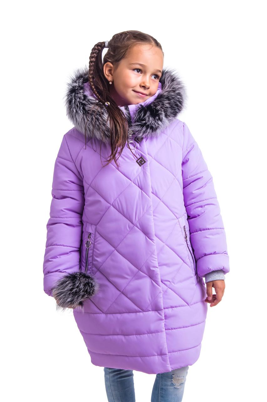 Зимний пуховик для девочки подростка от производителя  38-40 сиреневый