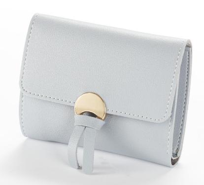 Женский кошелек BAELLERRY Wallet Mini кожаное портмоне на кнопке Серый