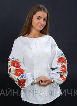 """Вишиванка жіноча """"Маки"""" дов/рукав білий р.42-46"""