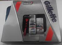 Набор для бритья Gillette Mach3 (станок с картриджем + гель для бритья + бальзам после бритья + косметичка)