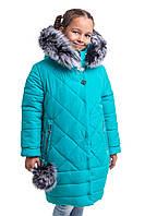 Зимние пальто  для девочки подростка от производителя  34-42 бирюзовый