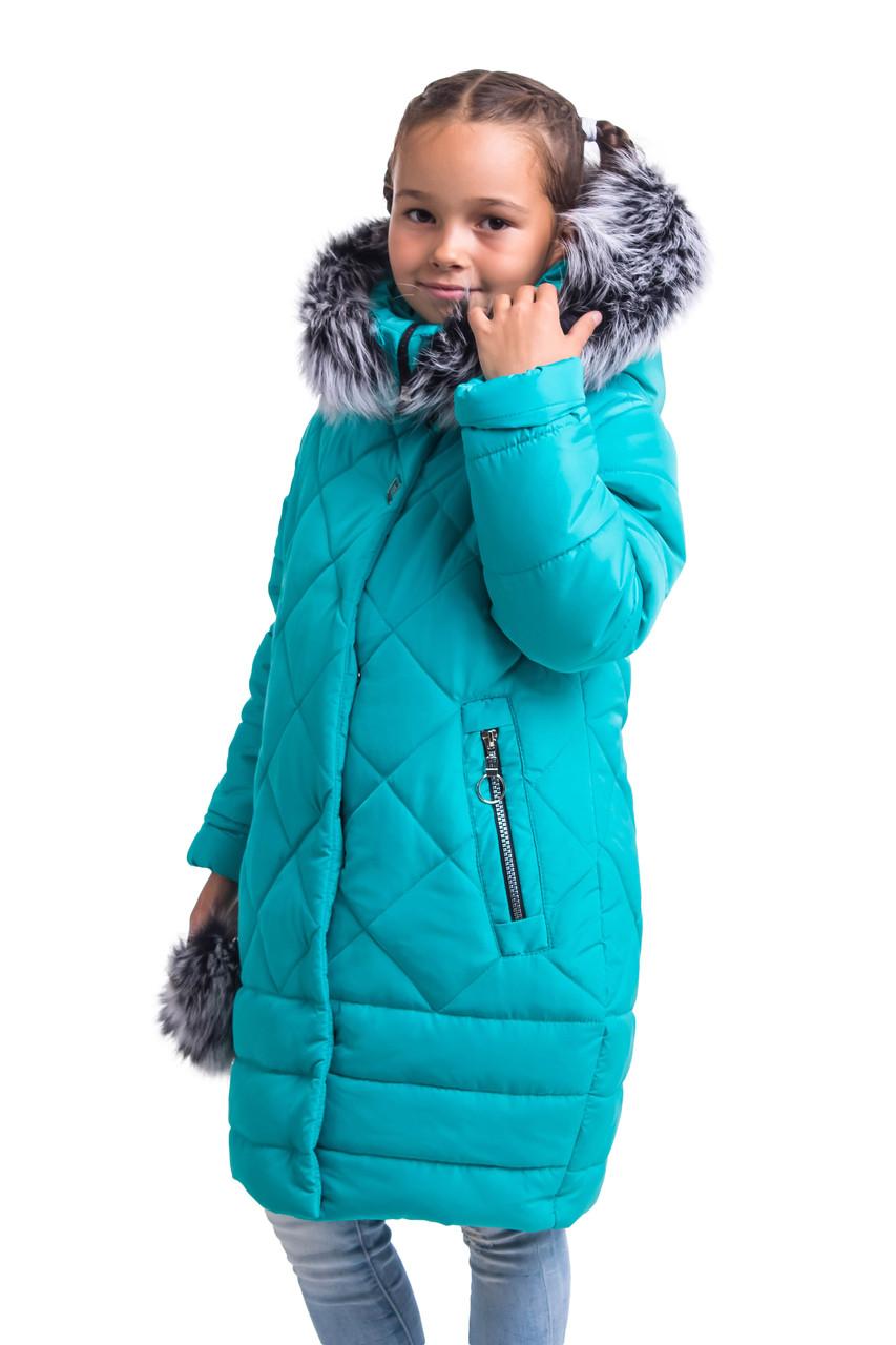 Куртки зимние для девочек от производителя  34-40 бирюзовый