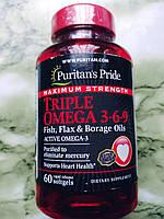 Жирные кислоты Омега 3-6-9 Puritan's Pride Maximum Strength Triple Omega, фото 1