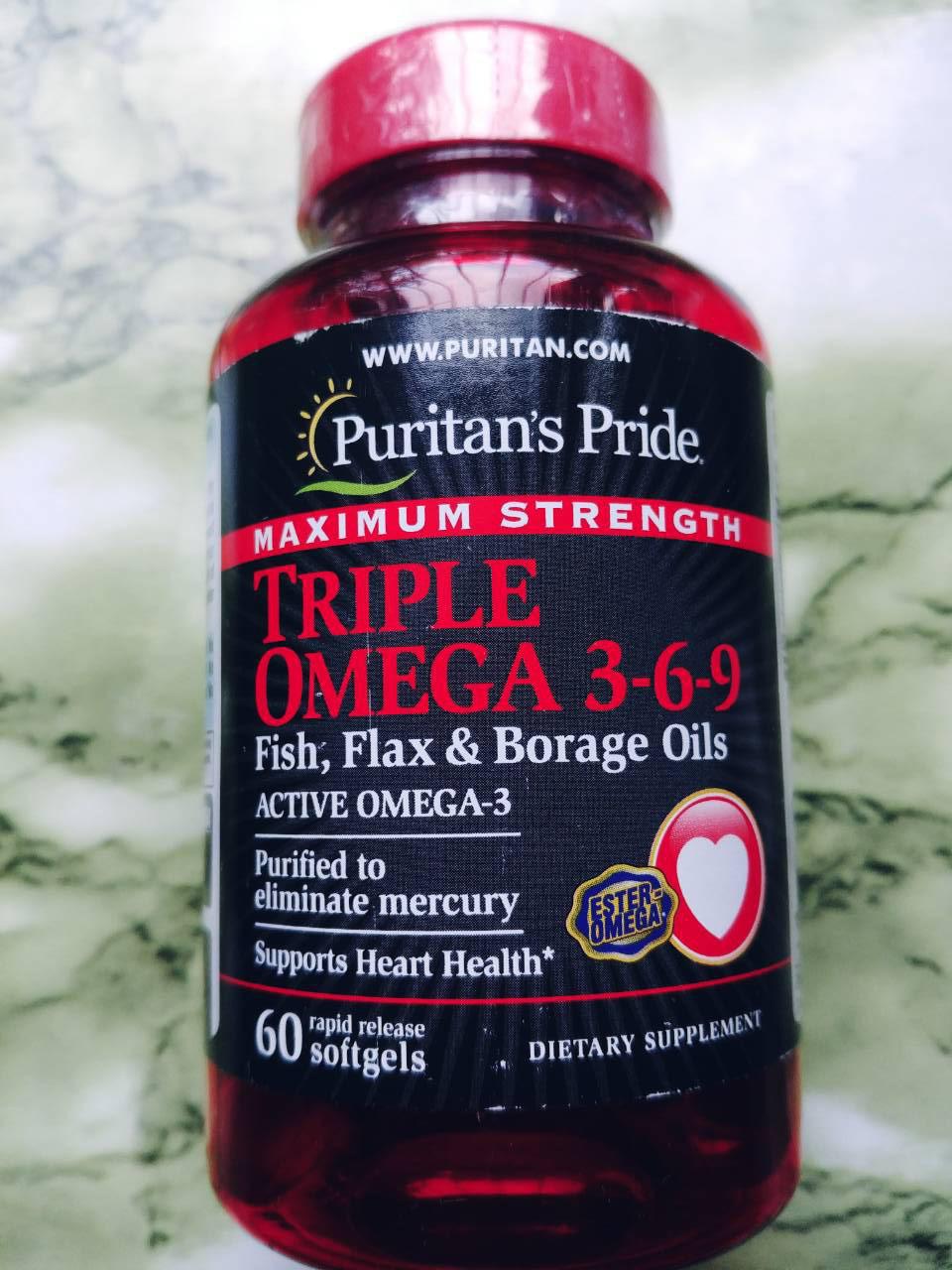 Жирные кислоты Омега 3-6-9 Puritan's Pride Maximum Strength Triple Omega