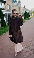 Шуба норковая, коричневая, со стойкой.  Модель 200631, фото 1