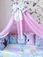 Бортики игрушки защита в кроватку на 3 стороны