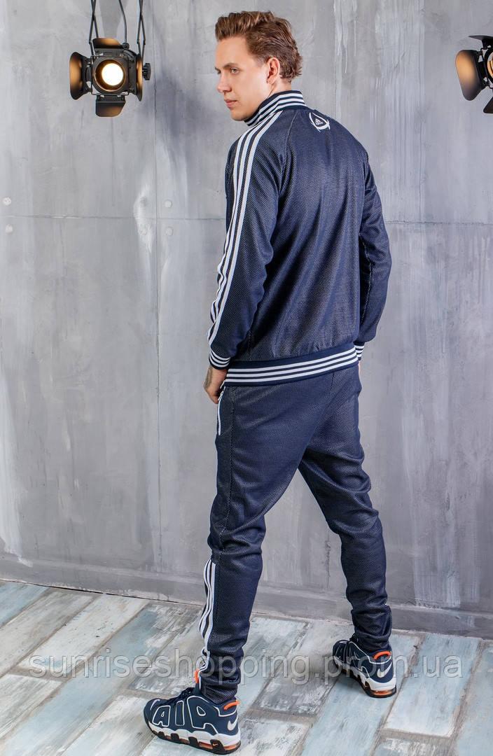 070fca411df ... Мужской спортивный трикотажный костюм Adidas синего цвета на молнии
