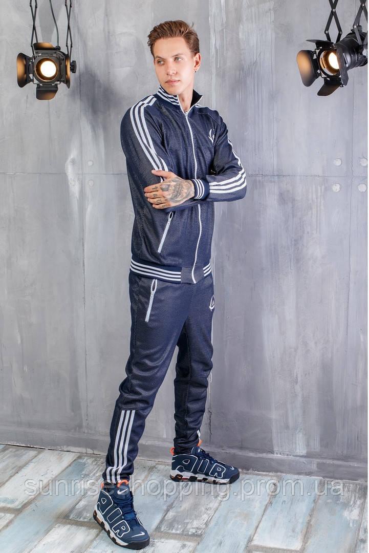 12dc1e2c015 Мужской спортивный трикотажный костюм Adidas синего цвета на молнии
