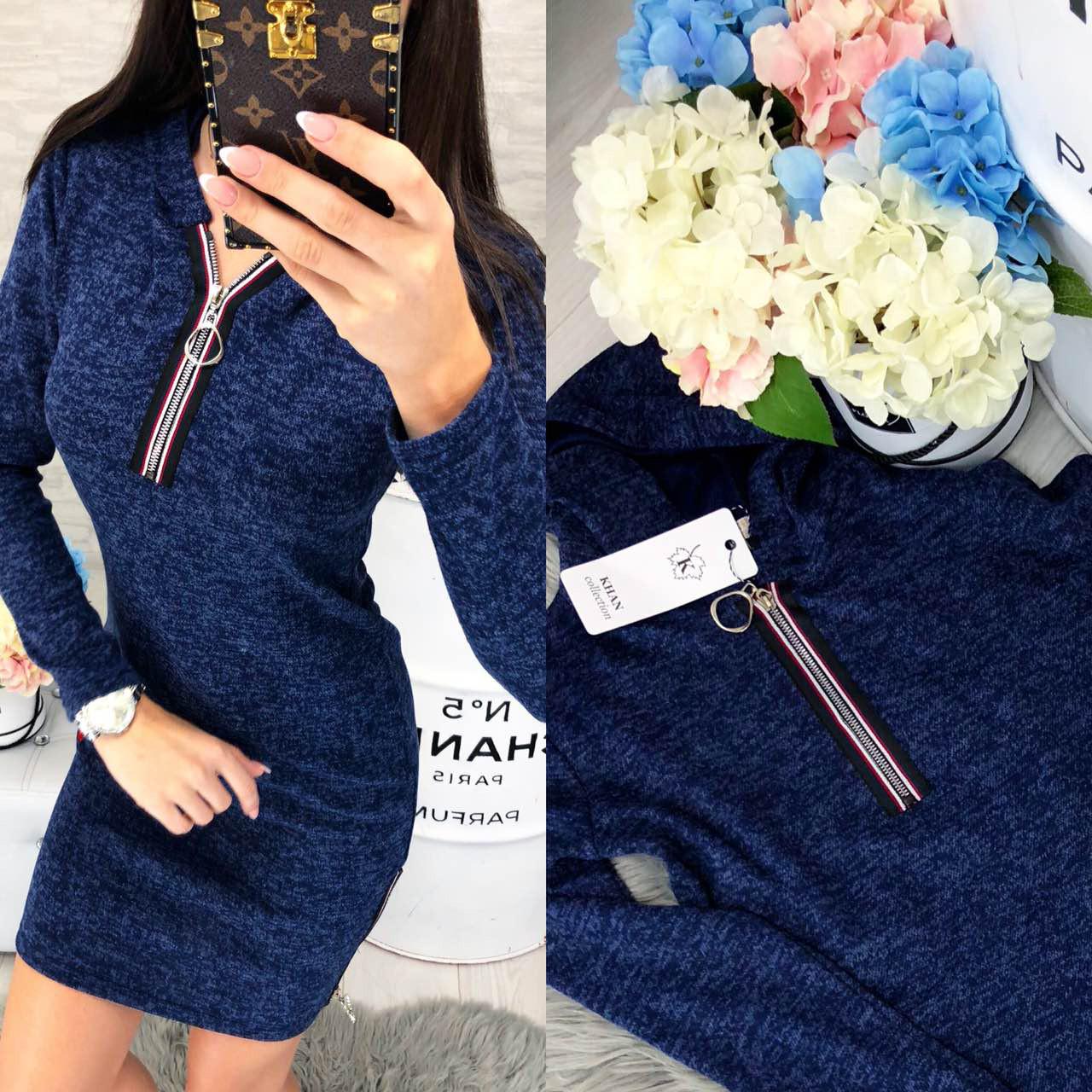 Платье с капюшоном, ангора, модель 129, цвет - синий