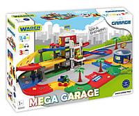 Мега-гараж Wader, 7,4 метра, передвижной лифт, дерева, наклейки, 3 машинки, 3 этажа