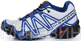 Мужские кроссовки Salomon Speedcross 3 White Саломон в стиле белые/синие