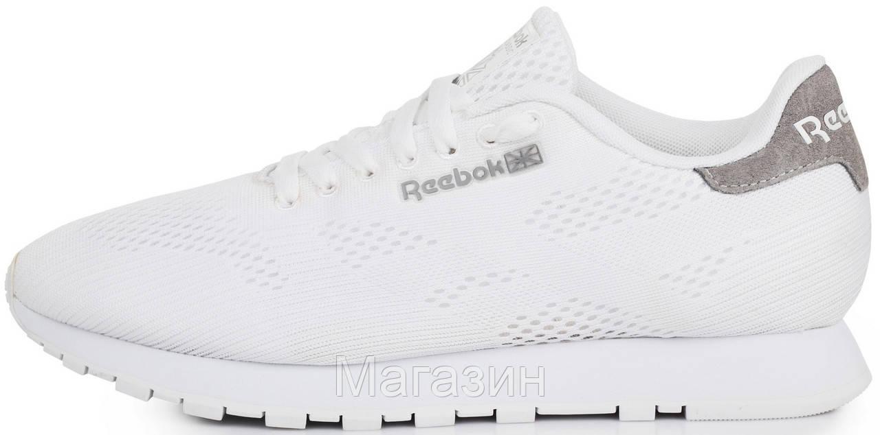 Мужские кроссовки Reebok Runner Tech Mesh Flat White (Рибок) в стиле белые