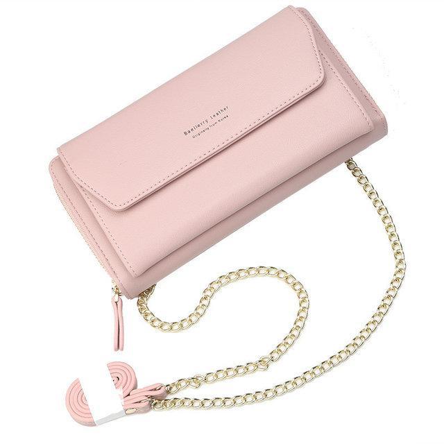 Стильный женский кошелек BAELLERRY Ladies кожаный клатч с ремешком-цепочкой Розовый