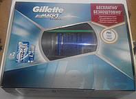 Набор Gillette Mach3 Turbo (бритва с двумя сменными картриджами + гель для бритья + косметичка), фото 1