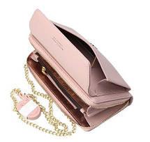 Стильный женский кошелек BAELLERRY Ladies кожаный клатч с ремешком-цепочкой Розовый, фото 2