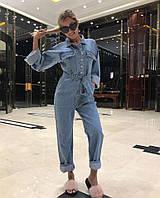 Женский стильный джинсовый комбинезон с поясом, фото 1