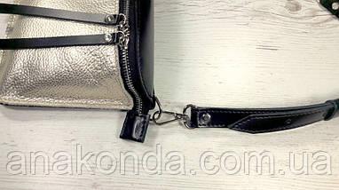 461-к Натуральная кожа Сумка на пояс женская черная золотая Сумка бананка женская кожаная Сумка на пояс, фото 3