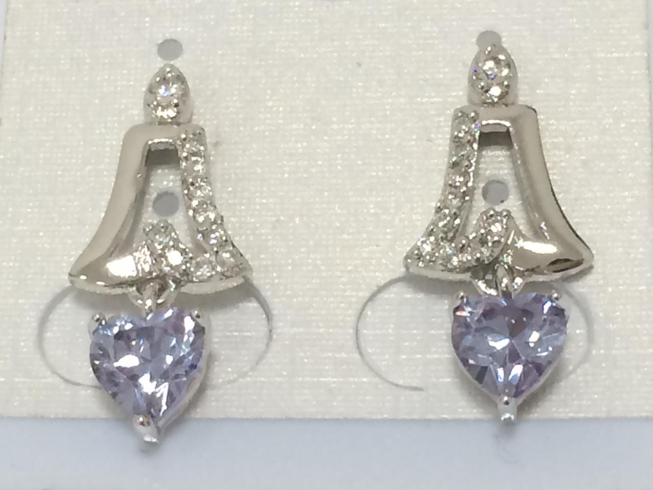 Сережки гвоздики родовані, Дзвіночок з фіолетовім цирконієм, Xuping