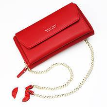 Стильный женский кошелек BAELLERRY Ladies кожаный клатч с ремешком-цепочкой Красный