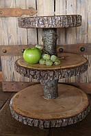 Підставка з натурального дерева з корою