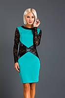 """Облегающее трикотажное мини-платье """"AMIRA"""" с гипюром и кожаными вставками (2 цвета)"""