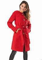 Женское пальто с поясом красного цвета. Модель 19226, размеры 42-46