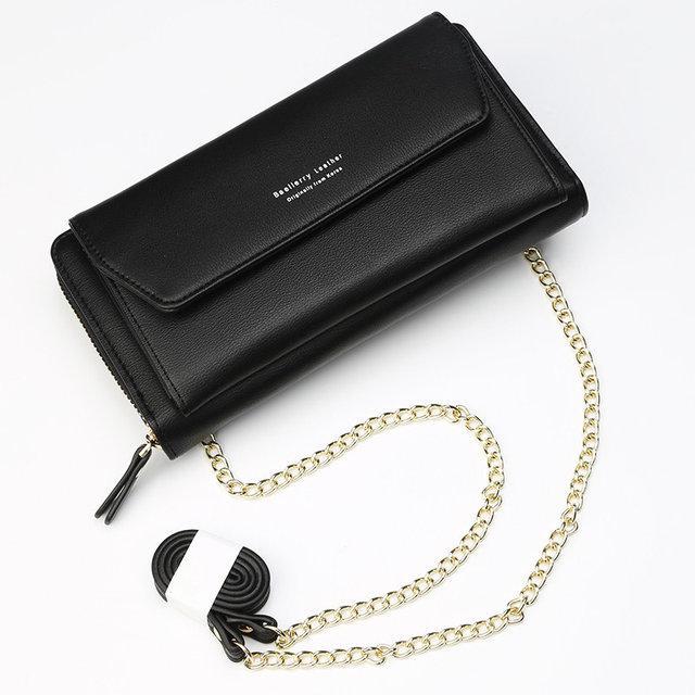 Стильный женский кошелек BAELLERRY Ladies кожаный клатч с ремешком-цепочкой Черный