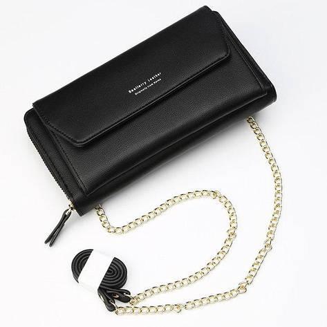 Стильный женский кошелек BAELLERRY Ladies кожаный клатч с ремешком-цепочкой Черный, фото 2