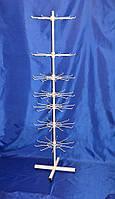 Белая вертушка стойка с крючками для навешивания товара на ножках  семь ярусов