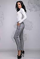 Модні жіночі брюки в сіру клітку з нашивними лампасами 42-50 розміри чорна смуга, фото 1