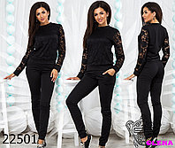 Костюм женский брючный спортивный с гипюром и карманами модный и красивый 42 44 46 48 50 Р, фото 1