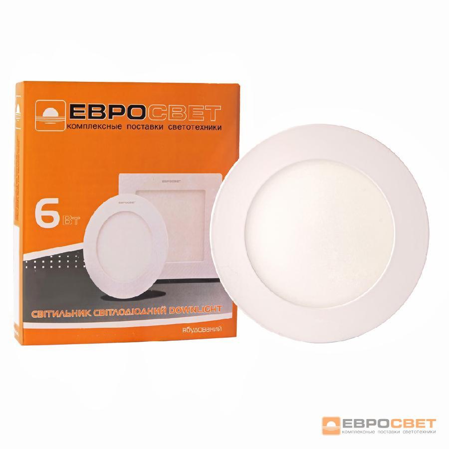 Светильник точечный врезной ЕВРОСВЕТ 6Вт круг LED-R-120-6 4200К