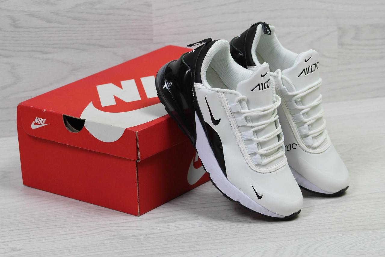 Кроссовки женские Nike Air  Max 270 стильные осенние спортивные на шнурках (белые с черным), ТОП-реплика