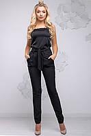 Стильні жіночі брюки вільного фасону завужені з поясом 44-54 розміри чорні, фото 1