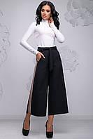 Модні жіночі брюки кюлоти розширені до низу з лампасами 42-48 розміри чорні, фото 1
