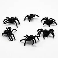 Паук бархатный черный, 6 шт набор, декорации на Хэллоуин