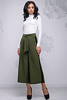 Модні жіночі брюки кюлоти розширені до низу з лампасами 42-48 розміри хакі, фото 1