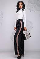 Стильні жіночі широкі штани з декоративними вставками по боках 44-54 розміри чорні з бежевим, фото 1
