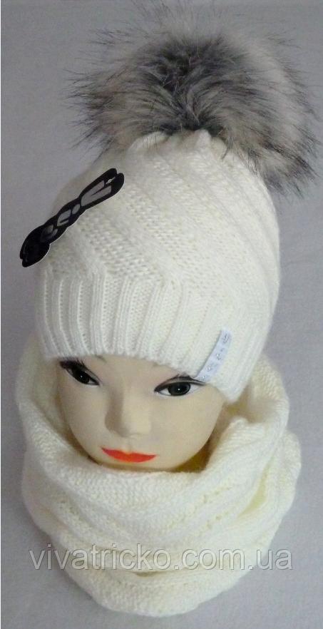 Комплект зимний шапка и баф, акрил, флис, разные цвета