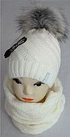Комплект зимний шапка и баф, акрил, флис, разные цвета, фото 1