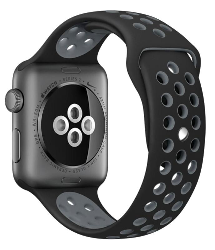 Ремешок для Apple iWatch 38mm Nike brand с перфорацией Черный / серый