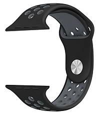 Ремешок для Apple iWatch 38mm Nike brand с перфорацией Черный / серый, фото 2